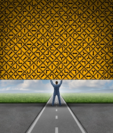 financial obstacle: Business clarity concept with a businessman on a road lifting an obstacle wall made of a group of yellow traffic signs pointing in confusing directions as a metaphor for financial freedom and clear focus on strategy  Stock Photo