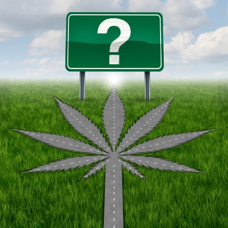 Cannabis marijuana or marihuana questions concept with a driving road or street in the shape of the pot leaf and a highway sign with a question mark as a metaphor for uncertainty in regards to medical use and legal issues concerning banned substances
