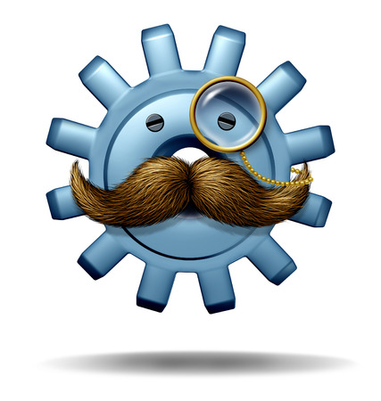 business symbol: Capitalist boss and big business symbol of a financial wealth executive as a three dimensional gear or cog with a big mustache and a monocle as a finance icon and concept for an industry mogul and fat cat leader on a white background  Stock Photo