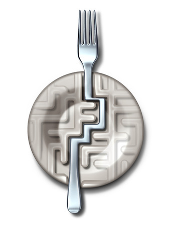 eating questions: Diet success solutions and food guide as a plate in the shape of a maze or labyrinth with a silver fork bending to find the answer to the puzzle as a metaphor for eating questions and fitness dieting challenges on a white background  Stock Photo