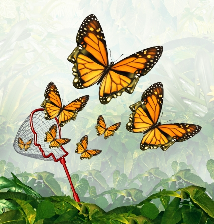 Get inspired and finding inspiration concept as a butterfly net and monarch butterflies shaped as a human head in a jungle as a metaphor for creativity and search for innovative ideas  photo