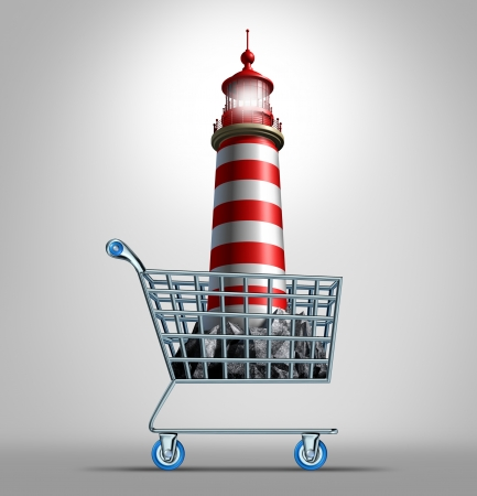 best guide: Guidance shopping business concept and life direction metaphor as an illuminated lighthouse icon in a store shop cart as a symbol of finding the best advice for commerce buying and financial guide expert or adviser on directing your future