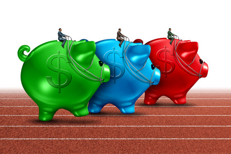 financial guidance: Money race business concept as a best of breed metaphor with a group of savings piggy banks being guided by finance businessmen competing for the best financial guidance performance award on a track and field path  Stock Photo