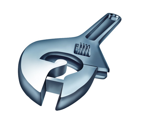 Repair questions and troubleshooting advice concept as a mechanic wrench tool in the shape of a question mark as a metaphor for maintenance and fixing problems with technology and business isolated on a white background  Reklamní fotografie