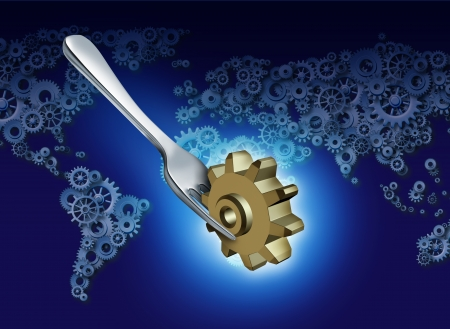 West exports and imports to Asia business concept for global trade as a silver table fork transporting a gear or cog as an American or North America industry icon over a group of gears and cogs shaped as a world map as a metaphor for the globe economy  photo