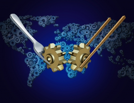 Western eastern global business and trade concept with a silver fork and wooden chopsticks holding a gear or cog over a  world made of gears as a metaphor for East West imports and exports economy cooperating together in friendship for financial success  Stock Photo