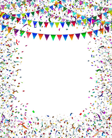 お祝いやパーティーとして旗布フラグ紙吹雪フレーム フレーム フェスティバルやカーニバルの誕生日や空白コピー スペースで重要なイベントを祝