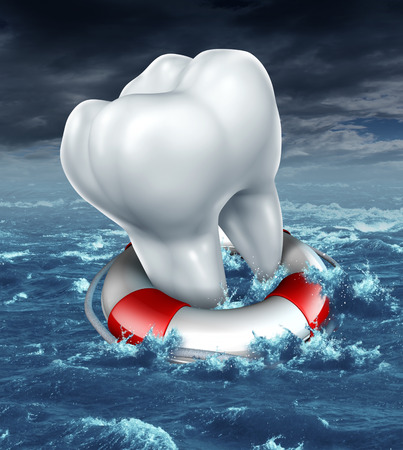 Dental help protection as a medical dentistry concept with a white molar tooth being saved by a lifesaver or lifebelt as a metaphor for fighting against tooth decay and rescue from cavities on an ocean storm background