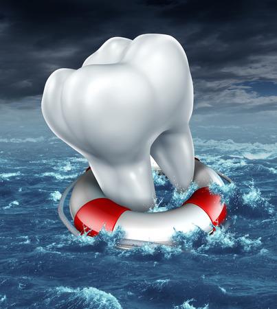 urgencias medicas: Dental protecci�n ayuda como un concepto odontolog�a m�dica con un diente molar blanco que es salvado por un salvavidas o lifebelt como una met�fora de la lucha contra la caries dental y el rescate de las cavidades en un fondo de la tormenta del oc�ano Foto de archivo
