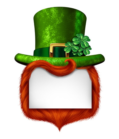 Leprechaun blank sign banner with a green shamrock lucky top hat and orange red hair as a St Patricks day symbol  Stockfoto