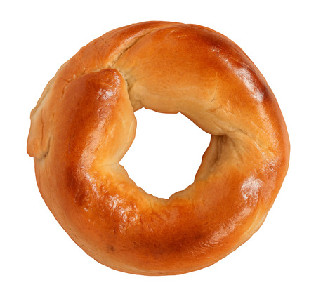 doughy: Bagel isolated on a white background made of tasty delicious chewy dough as a classic circle shaped food symbol of traditional breakfst baked goods and old fashioned bread product