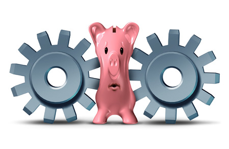 squeeze: Business pressure and financing squeeze concept as a group of two gears or cog wheels putting the screws on a savings piggy bank as a metaphor for debt crisis and financial stress