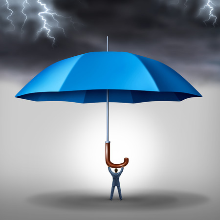 security symbol: Business protection and risk management tax shelter as a businessman holding a blue umbrella with a storm and lightning above as a metaphor for security stress and a financial risks reduction concept  Stock Photo