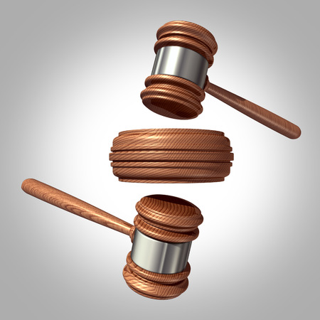 prosecution: Counter sue and countersuit law concept with two judge mallet or gavel symbols in opposite direction hitting a sound block,as a metaphor for fighting back a legal claim by suing as a defence against the prosecution