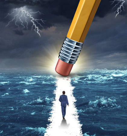 breaking free: Freedom concept with a lightning storm at sea and a pencil erasing a clear path for a businessman to walk to his success goal as a metaphor for bridge building solutions and overcoming adversity
