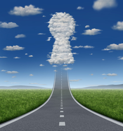 growing success: Key to growing success concept with a road or highway going forward fading into the sky with a group of clouds shaped as a keyhole icon as a business symbol for solutions and aspirations  Stock Photo