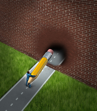 financial obstacle: New business opportunities concept with a businessman on a blocked road holding a giant pencil erasing the brick wall obstacle with the eraser breaking through to opportunity in career and financial success  Stock Photo