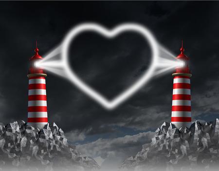 밤 하늘에 공생의 로맨틱 한 하트 아이콘으로 모양의 횃불 빛나는 두 대와의 관계 통신과 사랑 가이드 개념