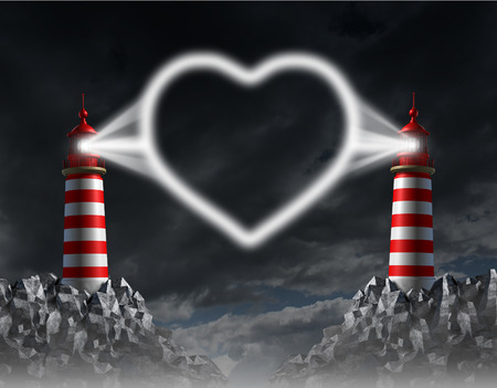 Relationship communication and love guide concept with two lighthouses shining a beacon light shaped as a romantic heart icon of togetherness on a night sky  Stock Photo