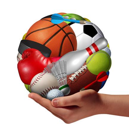 aktywność fizyczna: Aktywny styl życia i koncepcji gry i zabawy z symbolem ręki trzymającej grupę sportowych w kształcie kuli, jako metafory dla zdrowych przydatności aktywności fizycznej rekreacji oferuje młodzieży jako hobby