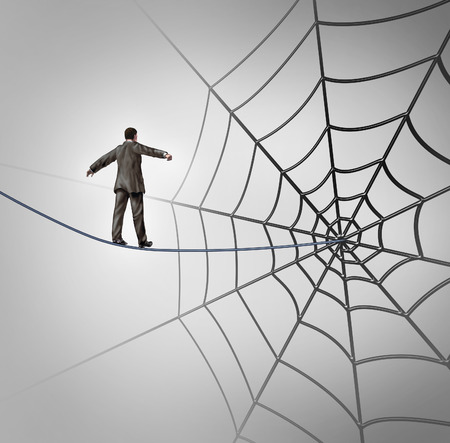 Businessman trap business concept with a tightrope walker walking on a wire leading to a giant spider web as a metaphor for adversity and deception of being lured to a financial ambush or recruiting new career candidates  Stok Fotoğraf