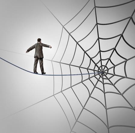 Trappola d'affari concetto di business con un funambolo che cammina su un filo che porta a una gigantesca ragnatela come una metafora per le avversità e l'inganno di essere attirato in un agguato finanziario o reclutare nuovi candidati di carriera