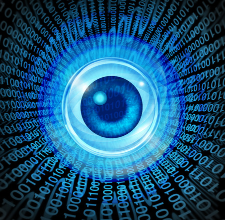 Digital vision high technology concept as an eye with binary code being communicated through the internet media as a symbol of global marketing and programming for future success