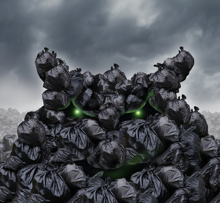 throw away: Garbage monster at a dump as mountains of black trash bags with an unpleasant smell shaped as an evil character with glowing green eyes and bad breath in an infinite landfill heap landscape as a background of environmental damage