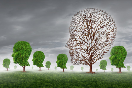support group: Human death and grief as loss of a loved one concept with a group of trees shaped as a head and one tree with no leaves as a metaphor for community support for greiving victims of disease and aging illness