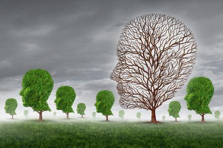 Lidská smrt a smutek jako ztráta někoho blízkého koncept se skupinou stromů ve tvaru hlavy a jeden strom bez listí jako metafora pro podporu komunitního greiving obětí nemoci a stárnutí nemoc