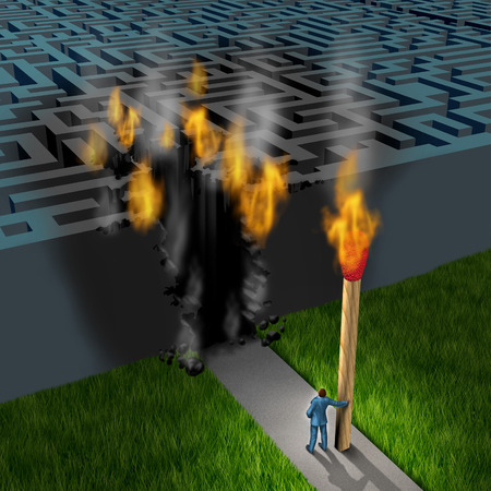 Innovative strategy business concept with a businessman holding a giant lit match burning an opening to enter a three dimensional maze as a leadership and success metaphor for out of the box thinking with new solutions  photo