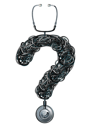 medical questions: Medical questions health care concept as a stethoscope in the shape of a question mark with the black tubing tangled in confusion as a stress metaphor for asking about hospital services for disease treatment and therapy  Stock Photo