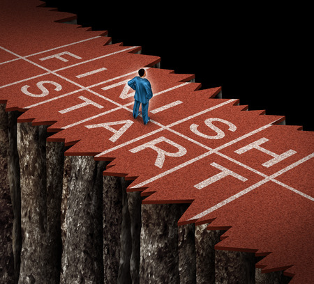 adversity: No opportunity and limited opportunities business concept as a lost businessman standing on a damaged separated track and field path as an adversity metaphor with restrained limits on career advancement and narrow financial possibilities  Stock Photo
