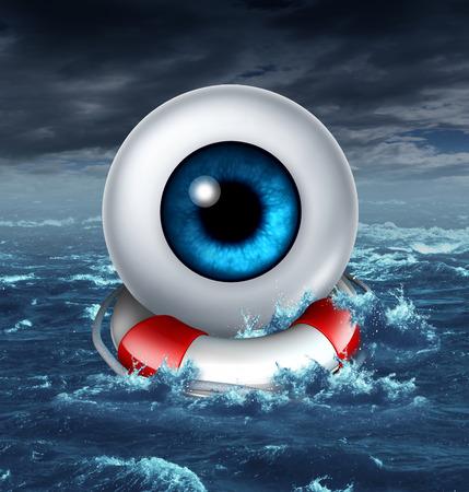protecting your business: Ahorro de su visi�n como un globo ocular humano se salva por un salvavidas o vida de la banda en una escena del oc�ano tormentoso como una met�fora de la p�rdida de protecci�n de la vista y ayudar a preservar la salud ocular