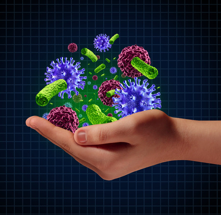 a human hand holding microscopic cancer virus and bacteria cells