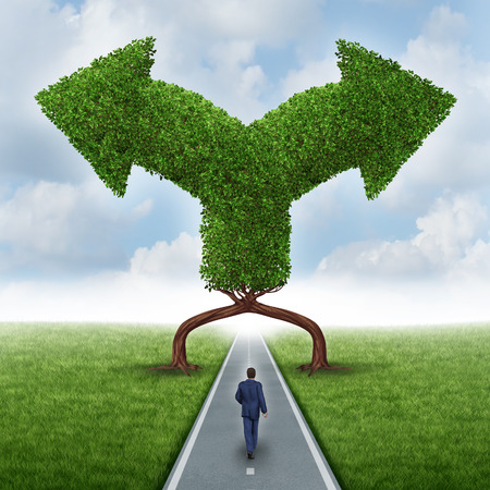 impasse: a businessman walking on a road with two trees shaped as arrows pointing in different directions