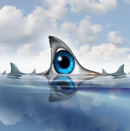 ojo humano: en forma de una aleta dorsal del tibur�n en el oc�ano con tiburones nadando en el oc�ano ojo humano