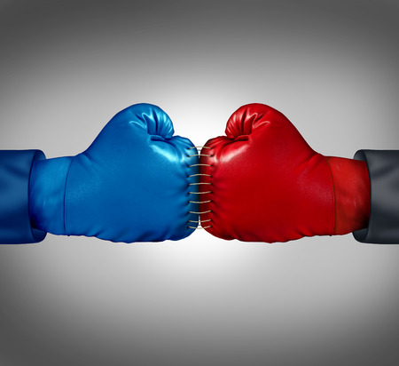 assimilate: two boxing gloves sewed and stitched together with thread Stock Photo