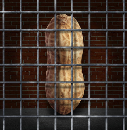 refused: Peanut allergy and no peanuts allowed concept with the prohibited snack behind bars