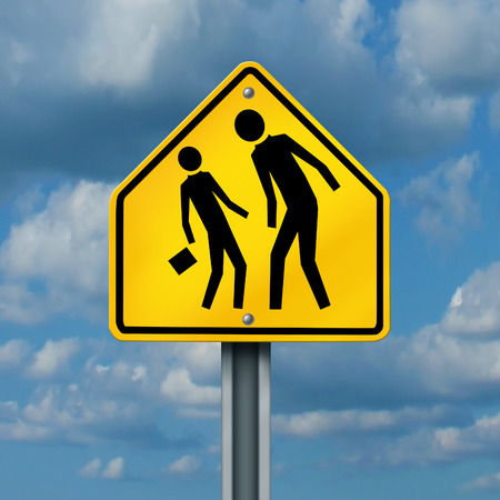 a yellow traffic sign with an abusive bully attacking or harassing a smaller defenseless student photo