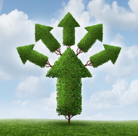 multiply: un �rbol en forma de una flecha hacia arriba con la planta tallos ramific�ndose y creciente flechas m�s peque�as
