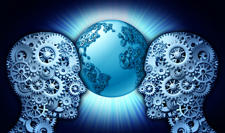 a group of gears and cog wheels shaped as two people looking into a world globe made of cogs photo