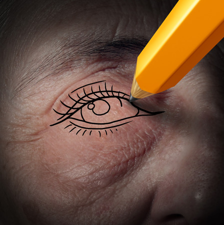 aging face: a pencil drawing a new eye on an aging human face Stock Photo