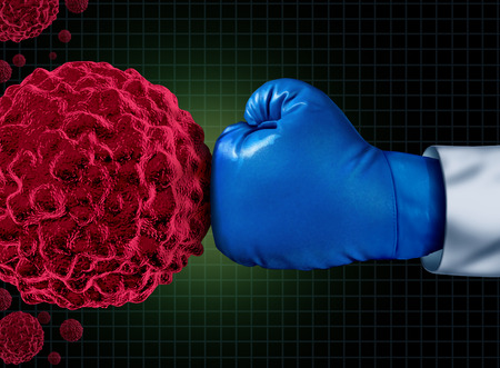 Cancer fight medical concept with an arm of a doctor wearing a blue boxing glove fighting a group of malignant human cells as a health care metaphor for researching a cure for dangerous tumors and therapy to remove illness