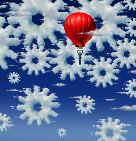 computing machine: Cloud management and internet support concept with a group of clouds shaped as gears and cog wheels in the sky with a management businessman riding a red hot air balloon to examine the networking system