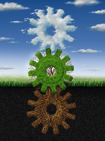 Connected environment nature concept and renewable energy metaphor as roots tree plant and clouds shaped as a group of gears and cogs working together as a symbol of industry networking cooperation