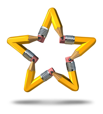 ingenuity: Creative star symbol as a group of yellow pencils coming together as a team to form an icon representing innovation talent stars in business success and education achievement on white background