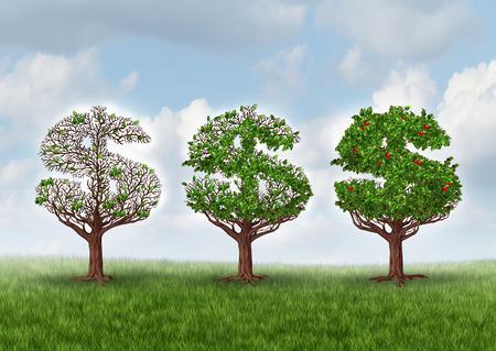 signo pesos: La recuperaci�n econ�mica y la creciente riqueza met�fora de negocios como un grupo de �rboles en forma de un signo de d�lar creciendo gradualmente hojas y sus frutos como un s�mbolo de la riqueza y el �xito financiero en una industria en crecimiento
