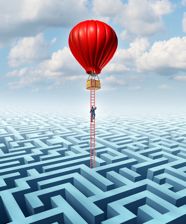 escape: Escape opportunity  and freedom from adversity solution leadership with a businessman climbing a ladder out of a complicated maze in a hot air balloon as a business concept of overcoming challenges for financial success  Stock Photo