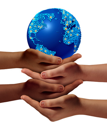 Global education community as children learning and development concept with a group of hands representing ethnic groups of young people cooperating together as friends to hold a world planet  photo